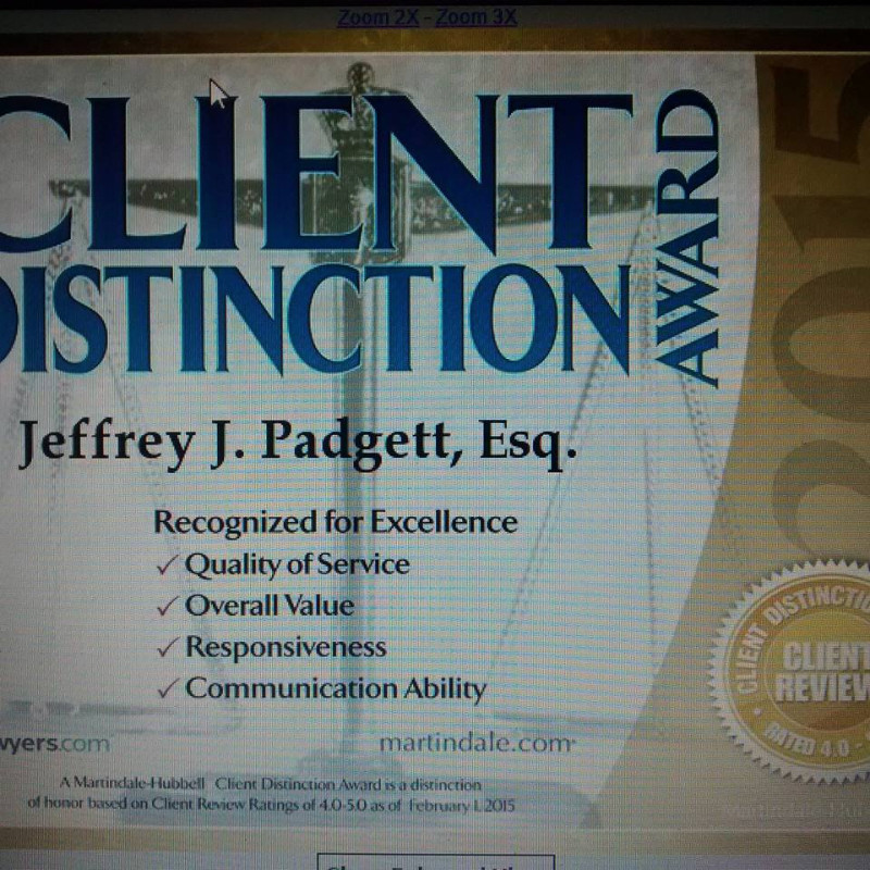Attorney-Jeffrey-J-Padgett-of-Padgett-Law-Firm-Client-Distinction-Award
