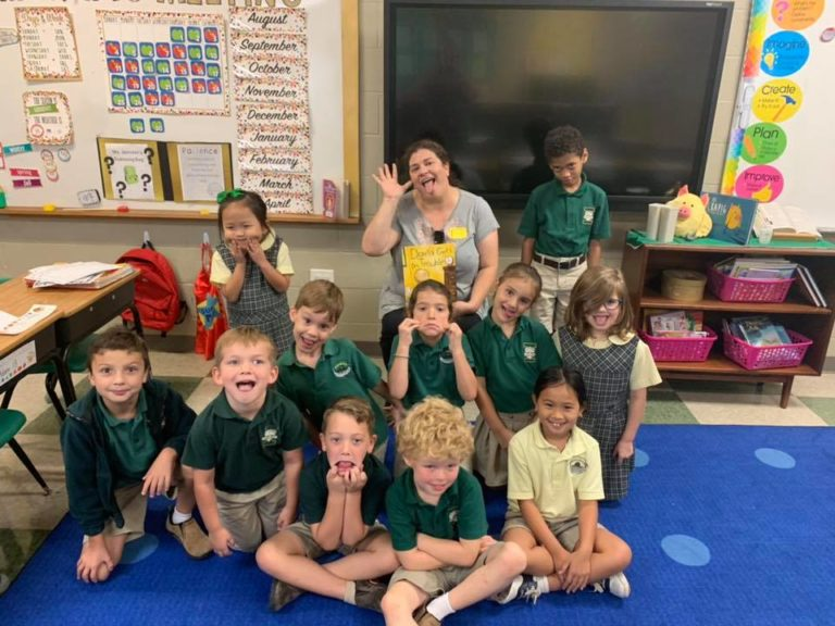 Incarnation Catholic School teacher and students